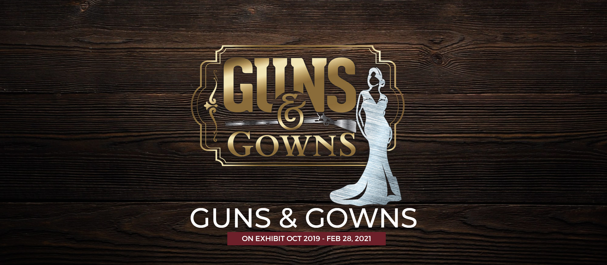 Guns & Gowns Title with wood background